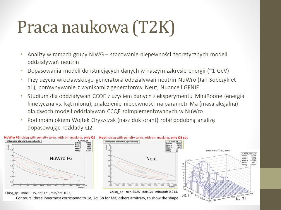 Praca naukowa (T2K) Analizy w ramach grupy NIWG – szacowanie niepewności teoretycznych modeli oddziaływań neutrin.