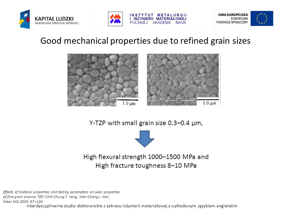 Good mechanical properties due to refined grain sizes