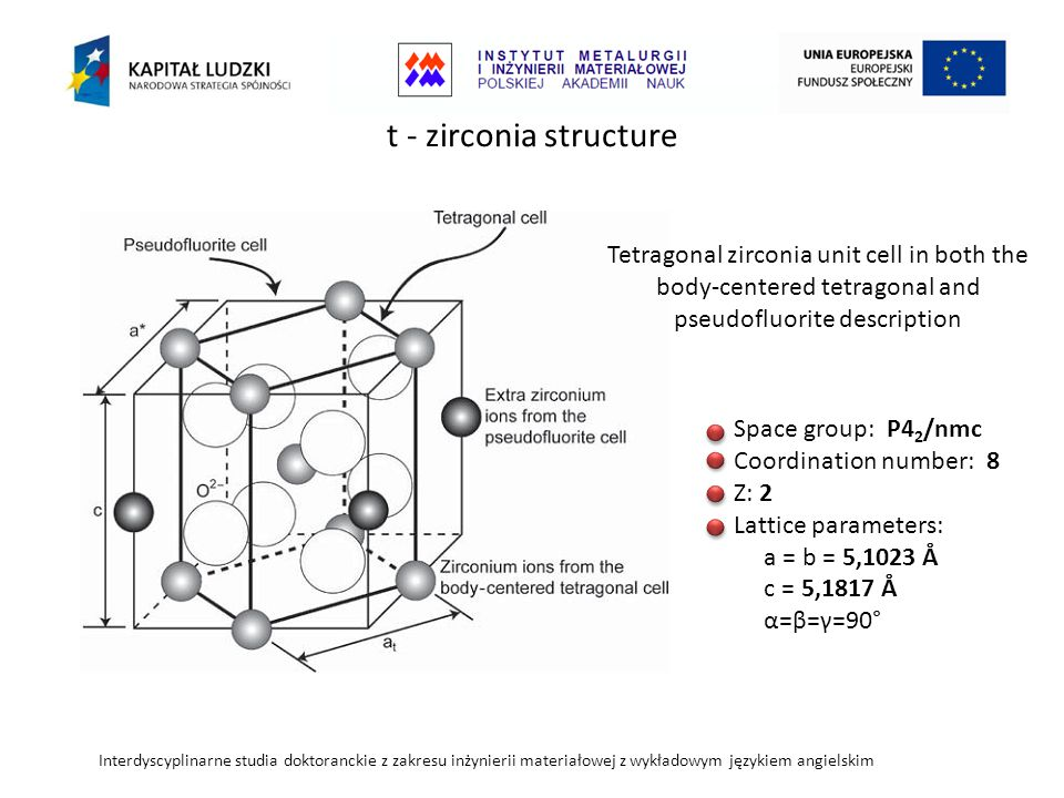t - zirconia structure Tetragonal zirconia unit cell in both the body-centered tetragonal and pseudofluorite description.