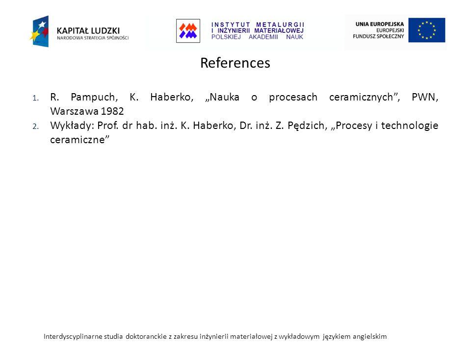 """References R. Pampuch, K. Haberko, """"Nauka o procesach ceramicznych , PWN, Warszawa 1982."""
