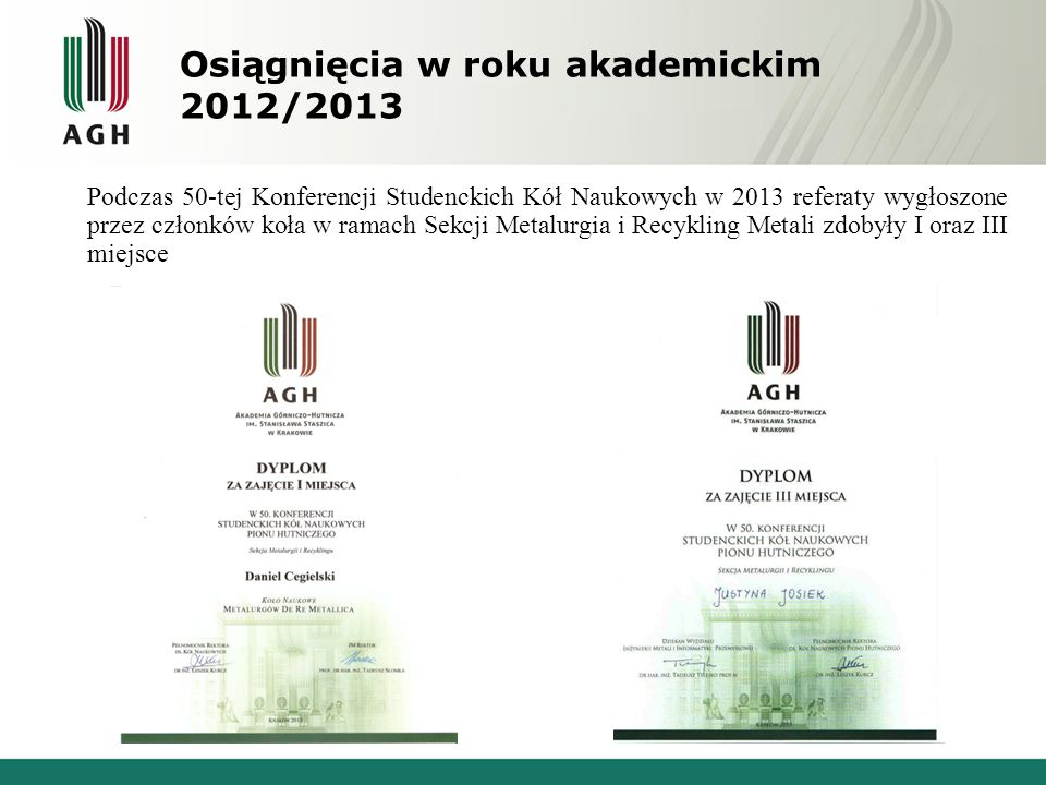 Osiągnięcia w roku akademickim 2012/2013