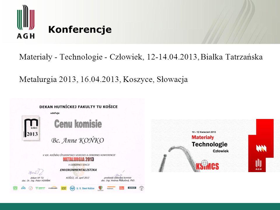 Konferencje Materiały - Technologie - Człowiek, 12-14.04.2013, Białka Tatrzańska Metalurgia 2013, 16.04.2013, Koszyce, Słowacja