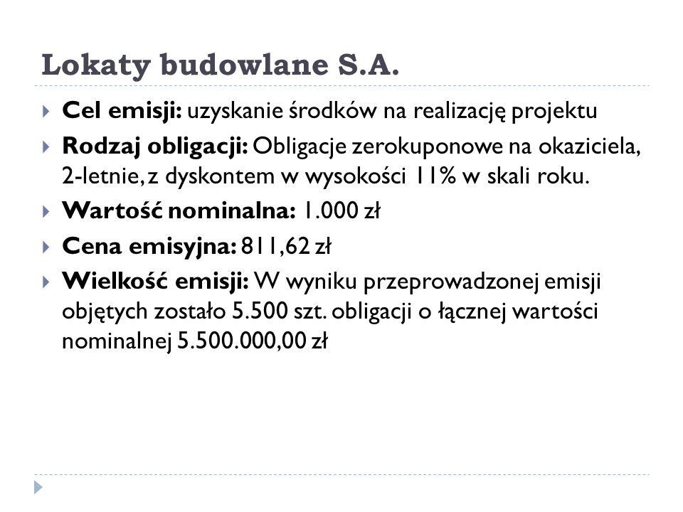 Lokaty budowlane S.A. Cel emisji: uzyskanie środków na realizację projektu.