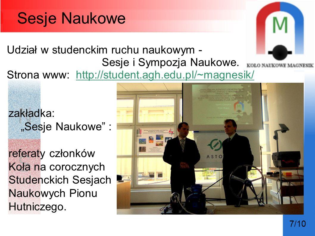 Sesje Naukowe Udział w studenckim ruchu naukowym -
