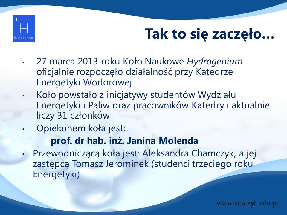 Tak to się zaczęło… 27 marca 2013 roku Koło Naukowe Hydrogenium oficjalnie rozpoczęło działalność przy Katedrze Energetyki Wodorowej.
