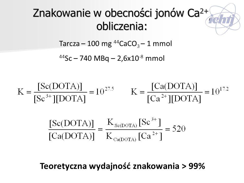 Znakowanie w obecności jonów Ca2+, obliczenia: