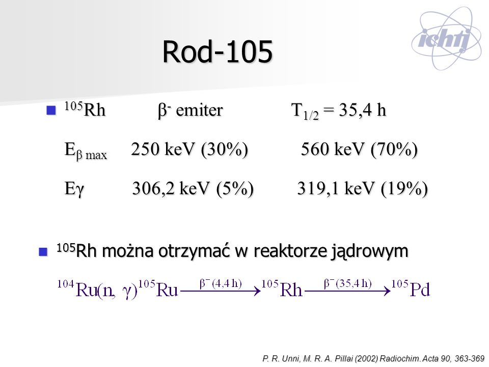 Rod-105 105Rh β- emiter Τ1/2 = 35,4 h. Eβ max 250 keV (30%) 560 keV (70%)