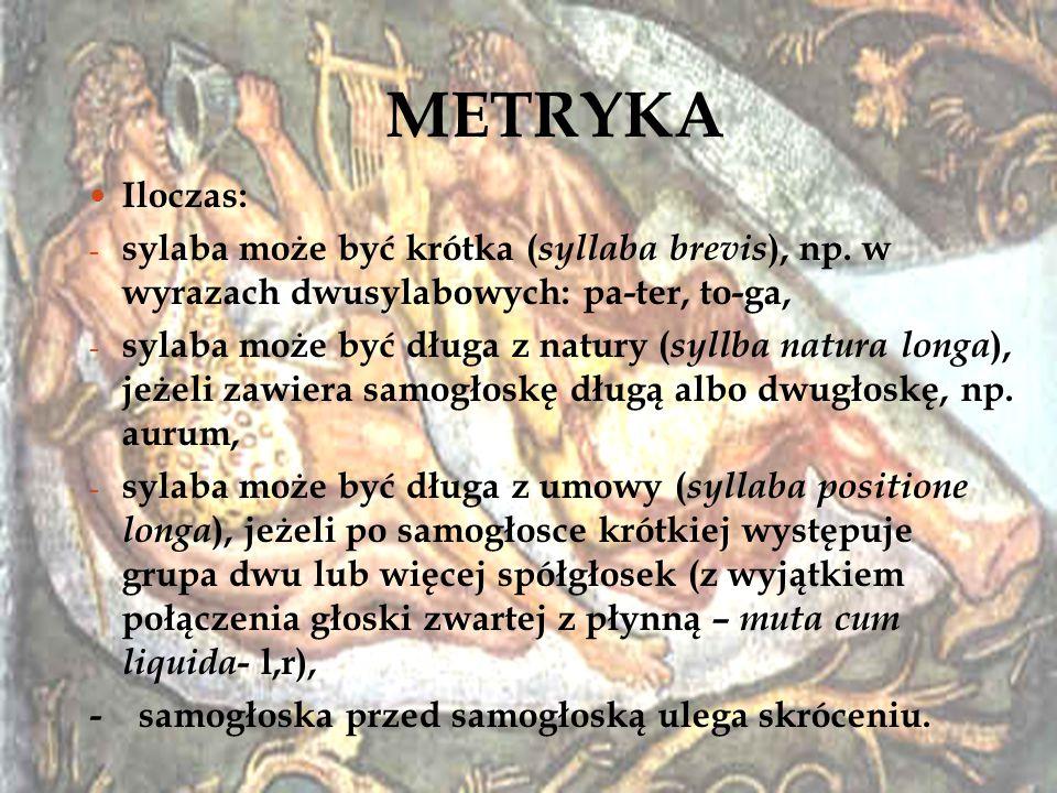 METRYKA Iloczas: sylaba może być krótka (syllaba brevis), np. w wyrazach dwusylabowych: pa-ter, to-ga,