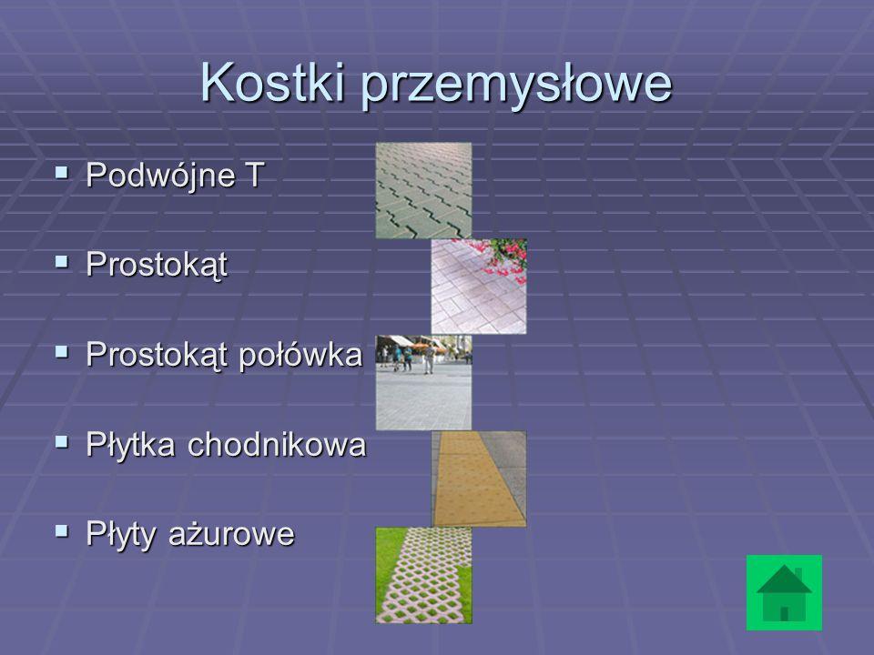 Kostki przemysłowe Podwójne T Prostokąt Prostokąt połówka