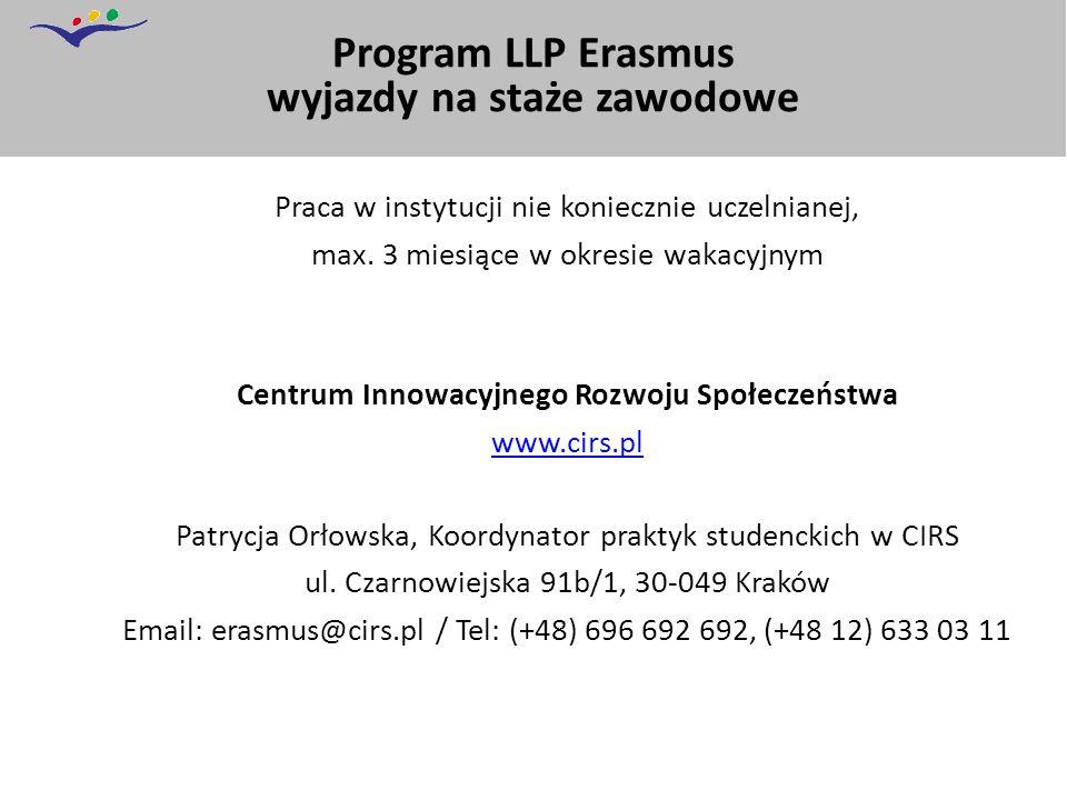 Program LLP Erasmus wyjazdy na staże zawodowe