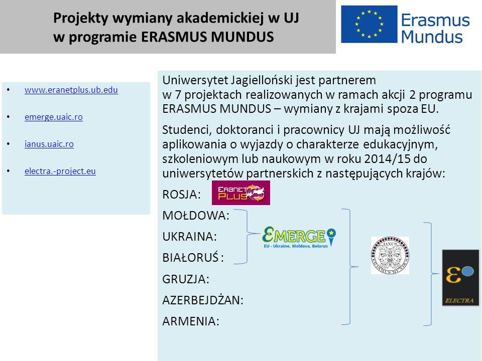 Projekty wymiany akademickiej w UJ w programie ERASMUS MUNDUS