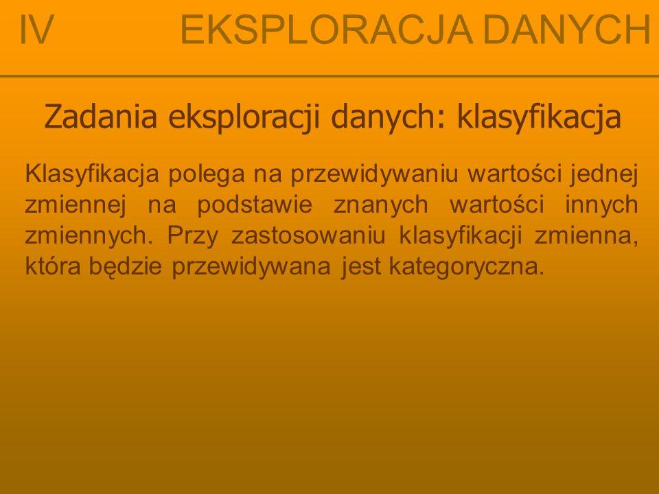 IV EKSPLORACJA DANYCH Zadania eksploracji danych: klasyfikacja