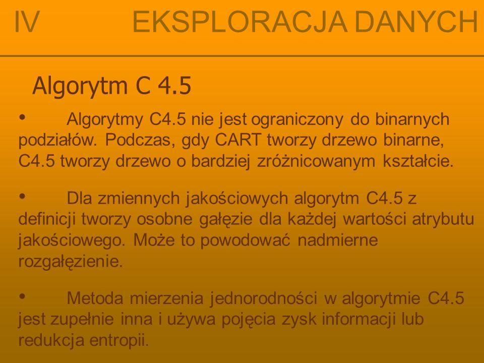 IV EKSPLORACJA DANYCH Algorytm C 4.5