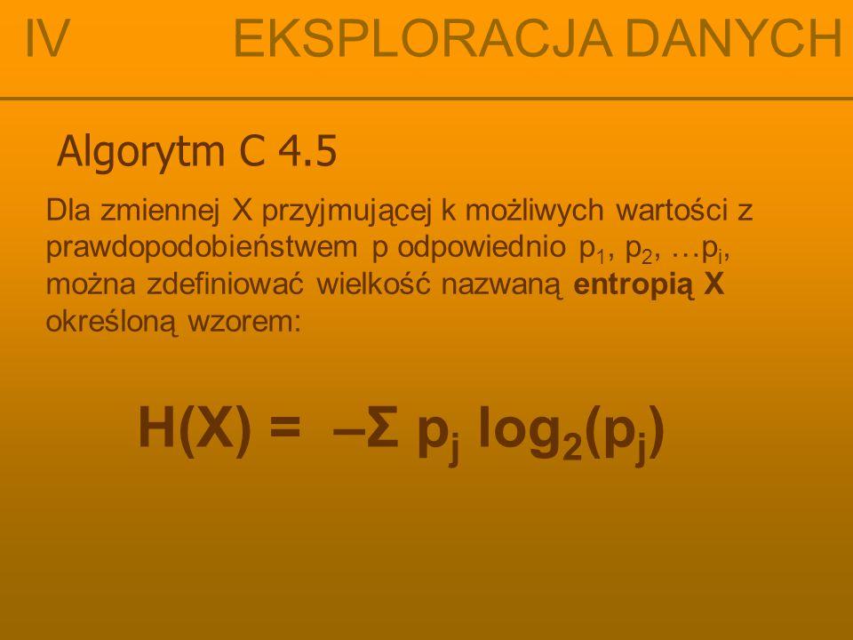 H(X) = –Σ pj log2(pj) IV EKSPLORACJA DANYCH Algorytm C 4.5