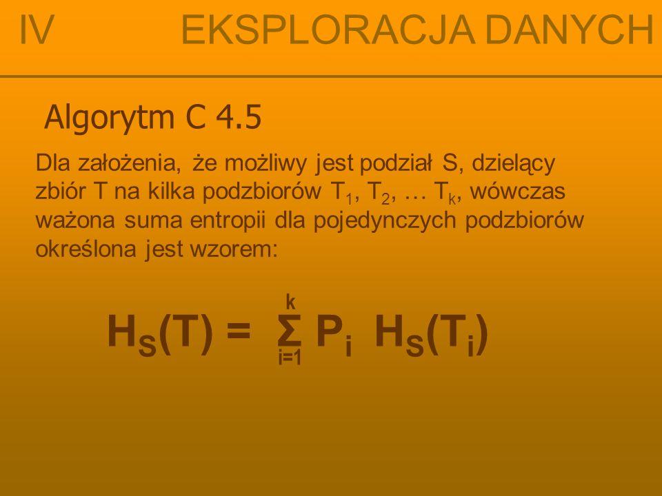 HS(T) = Σ Pi HS(Ti) IV EKSPLORACJA DANYCH Algorytm C 4.5