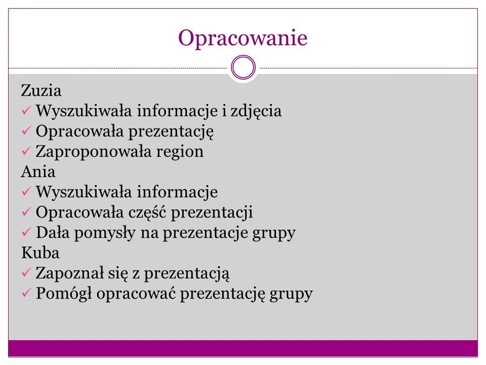 Opracowanie Zuzia Wyszukiwała informacje i zdjęcia