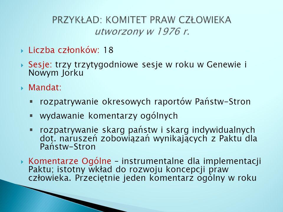 PRZYKŁAD: KOMITET PRAW CZŁOWIEKA utworzony w 1976 r.