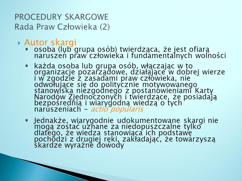 PROCEDURY SKARGOWE Rada Praw Człowieka (2)