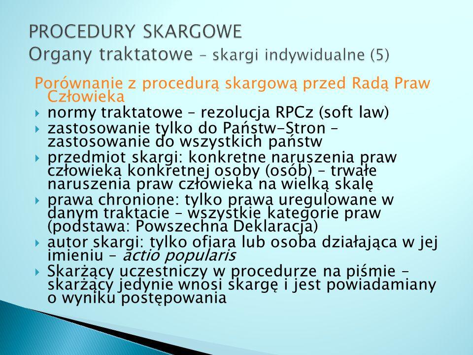 PROCEDURY SKARGOWE Organy traktatowe – skargi indywidualne (5)