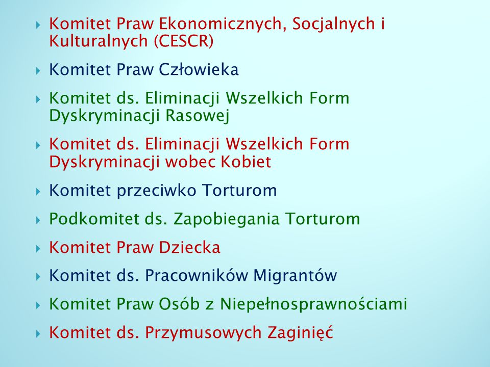 Komitet Praw Ekonomicznych, Socjalnych i Kulturalnych (CESCR)