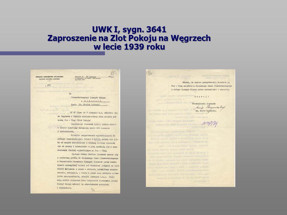 UWK I, sygn. 3641 Zaproszenie na Zlot Pokoju na Węgrzech w lecie 1939 roku