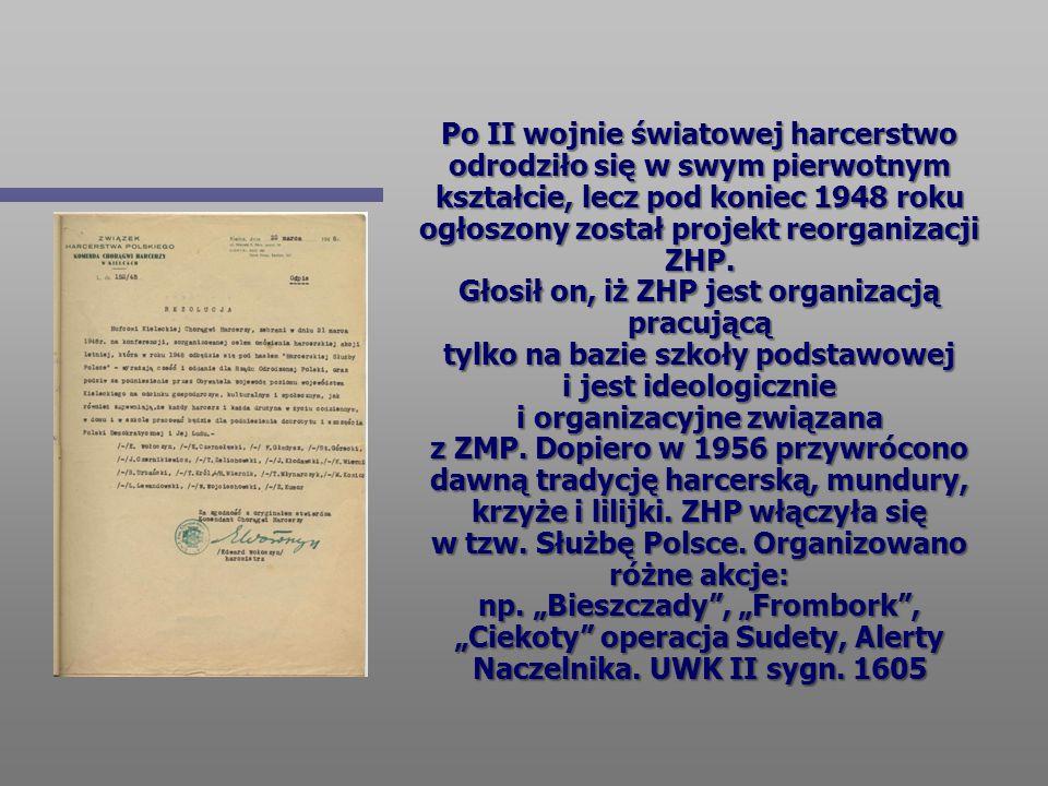 Po II wojnie światowej harcerstwo odrodziło się w swym pierwotnym kształcie, lecz pod koniec 1948 roku ogłoszony został projekt reorganizacji ZHP.