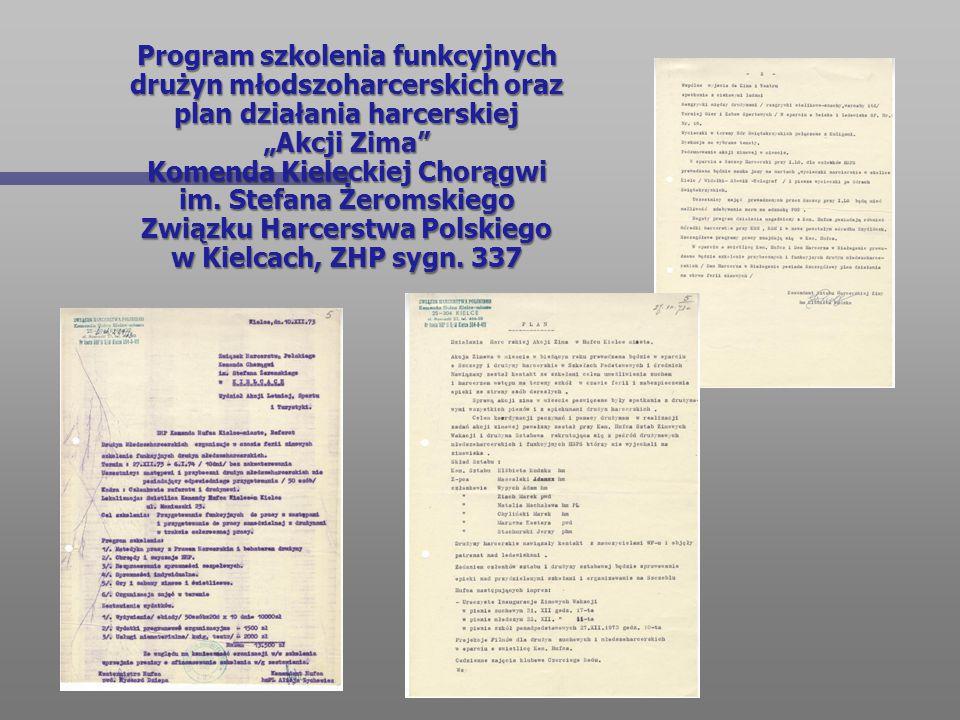 """Program szkolenia funkcyjnych drużyn młodszoharcerskich oraz plan działania harcerskiej """"Akcji Zima Komenda Kieleckiej Chorągwi im."""