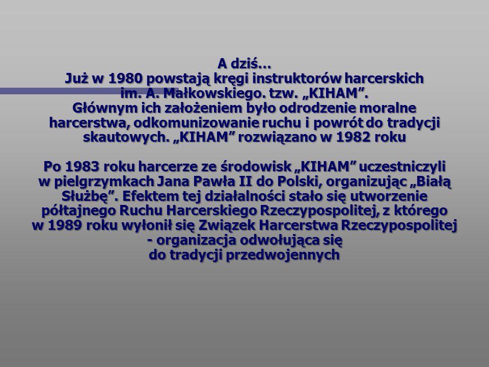 A dziś… Już w 1980 powstają kręgi instruktorów harcerskich im. A