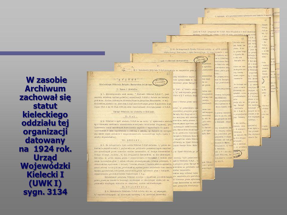 W zasobie Archiwum zachował się statut kieleckiego oddziału tej organizacji datowany na 1924 rok.