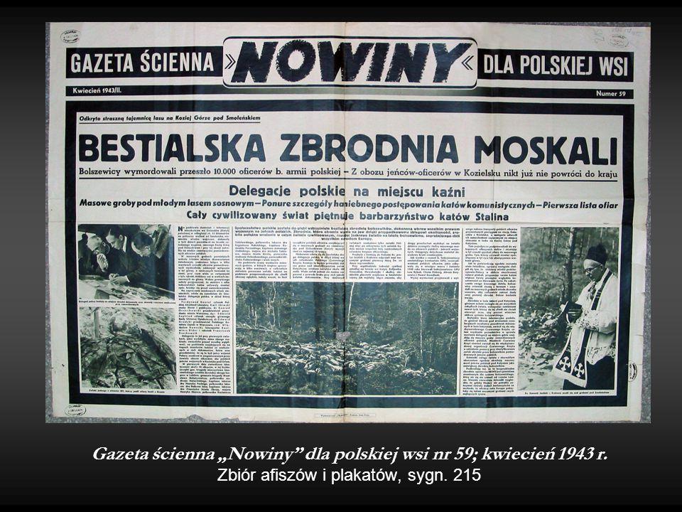 """Gazeta ścienna """"Nowiny dla polskiej wsi nr 59; kwiecień 1943 r"""