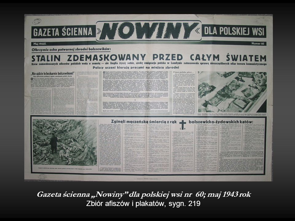 """Gazeta ścienna """"Nowiny dla polskiej wsi nr 60; maj 1943 rok Zbiór afiszów i plakatów, sygn. 219"""