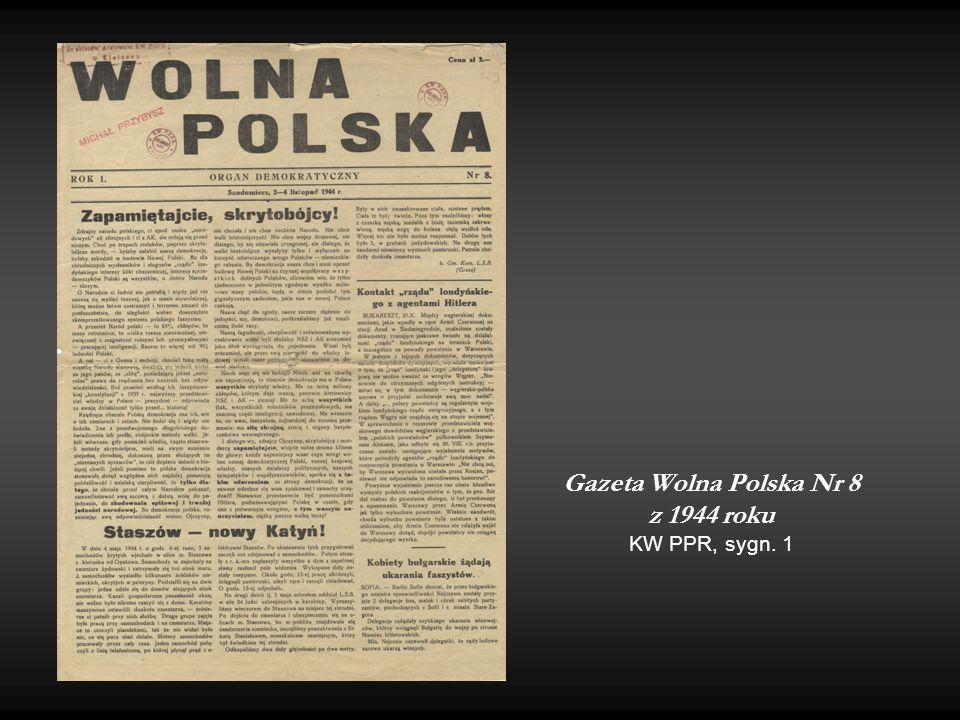 Gazeta Wolna Polska Nr 8 z 1944 roku KW PPR, sygn. 1