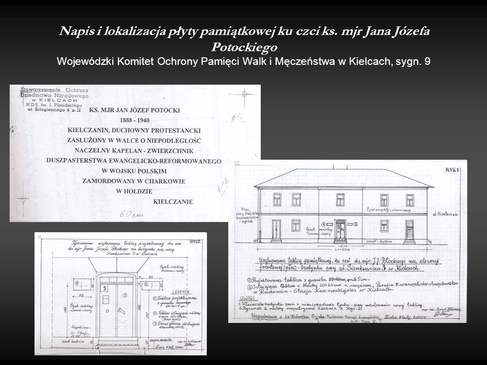 Napis i lokalizacja płyty pamiątkowej ku czci ks