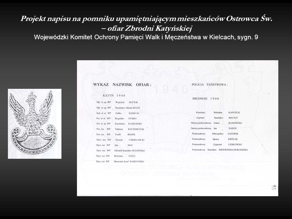 Projekt napisu na pomniku upamiętniającym mieszkańców Ostrowca Św