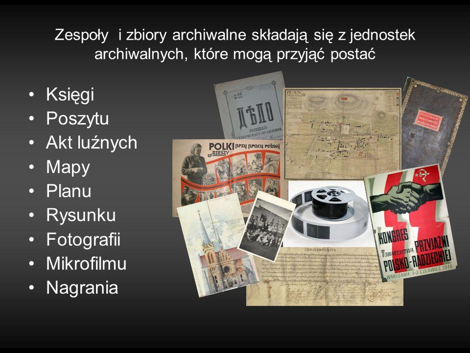 Księgi Poszytu Akt luźnych Mapy Planu Rysunku Fotografii Mikrofilmu