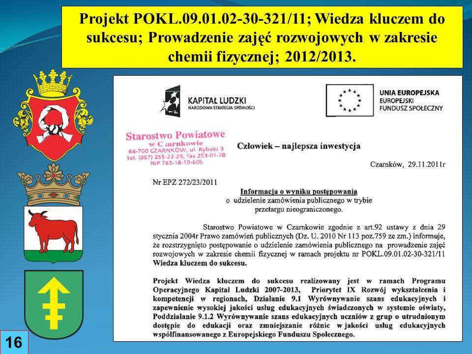 Projekt POKL.09.01.02-30-321/11; Wiedza kluczem do sukcesu; Prowadzenie zajęć rozwojowych w zakresie chemii fizycznej; 2012/2013.