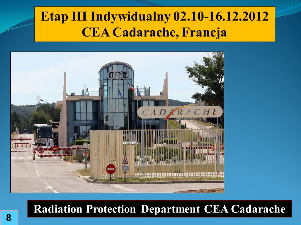 Etap III Indywidualny 02.10-16.12.2012 CEA Cadarache, Francja