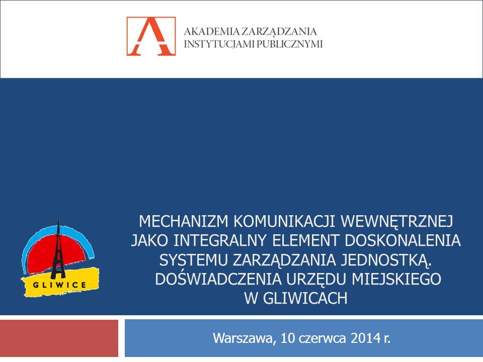 Mechanizm komunikacji wewnętrznej jako integralny element doskonalenia systemu zarządzania jednostką. Doświadczenia Urzędu Miejskiego w Gliwicach