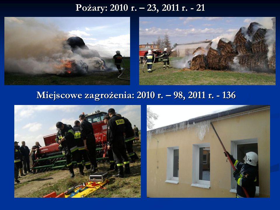 Miejscowe zagrożenia: 2010 r. – 98, 2011 r. - 136