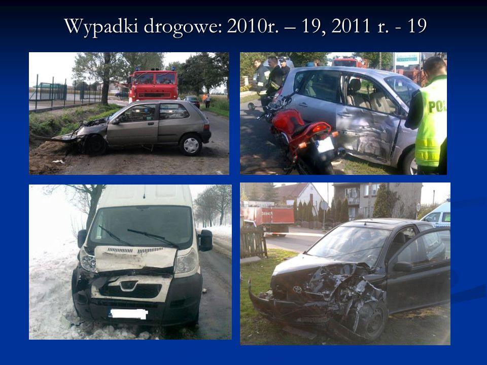 Wypadki drogowe: 2010r. – 19, 2011 r. - 19