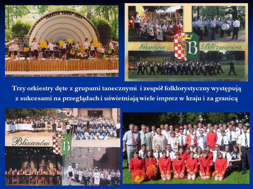Trzy orkiestry dęte z grupami tanecznymi i zespół folklorystyczny występują