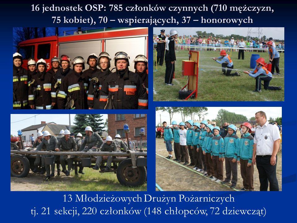 16 jednostek OSP: 785 członków czynnych (710 mężczyzn, 75 kobiet), 70 – wspierających, 37 – honorowych