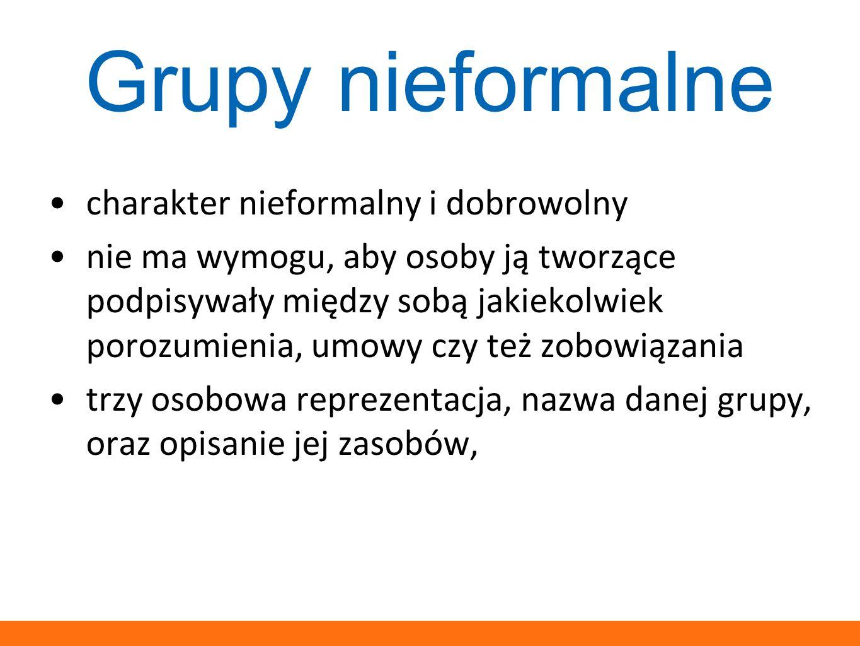 Grupy nieformalne charakter nieformalny i dobrowolny
