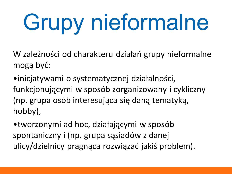Grupy nieformalne W zależności od charakteru działań grupy nieformalne mogą być: