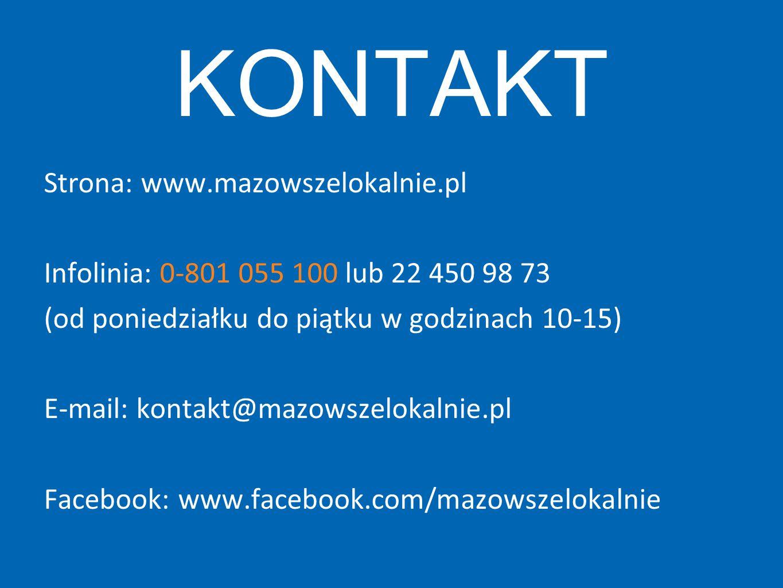 KONTAKT Strona: www.mazowszelokalnie.pl