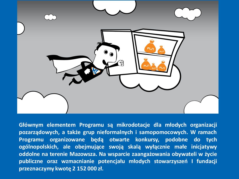 Głównym elementem Programu są mikrodotacje dla młodych organizacji pozarządowych, a także grup nieformalnych i samopomocowych.