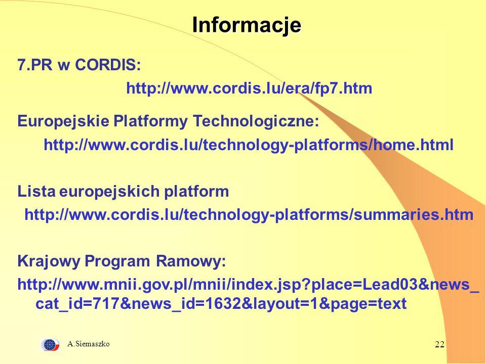Informacje 7.PR w CORDIS: http://www.cordis.lu/era/fp7.htm