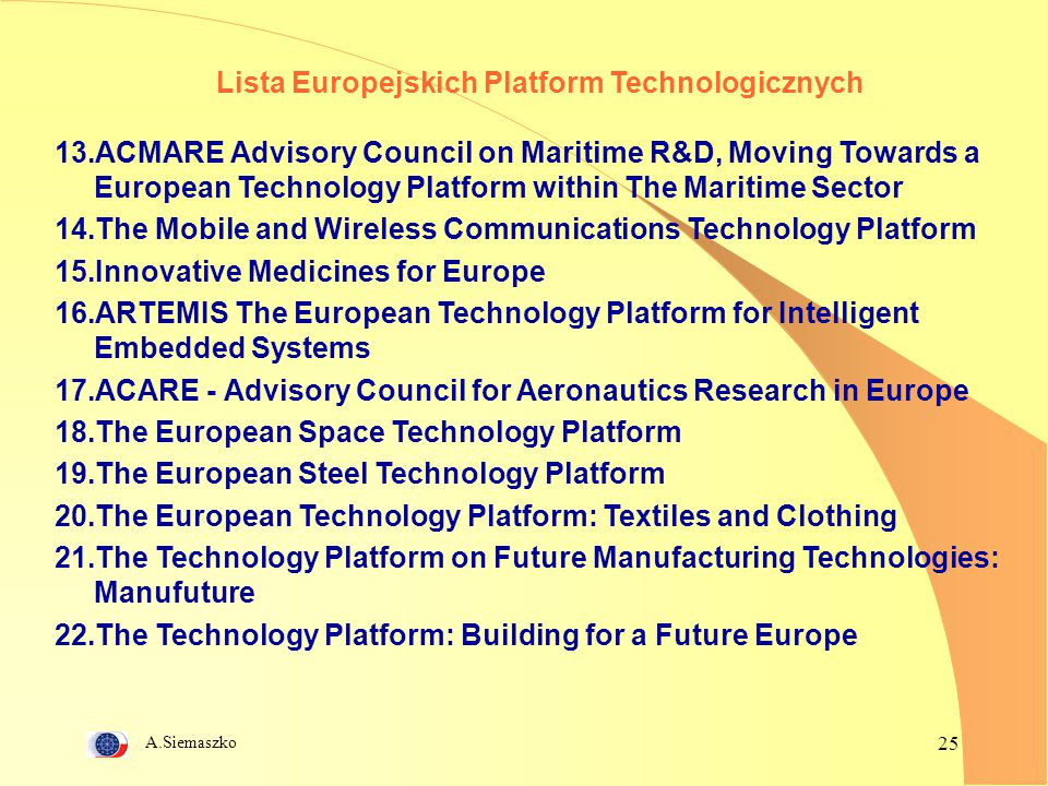 Lista Europejskich Platform Technologicznych
