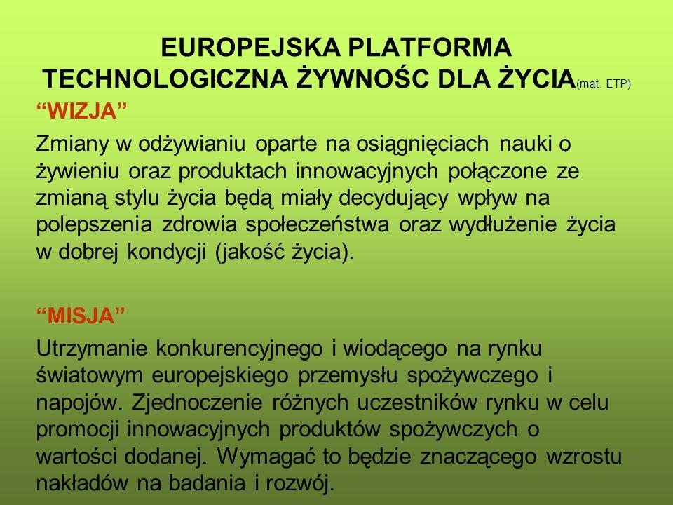 EUROPEJSKA PLATFORMA TECHNOLOGICZNA ŻYWNOŚC DLA ŻYCIA(mat. ETP)