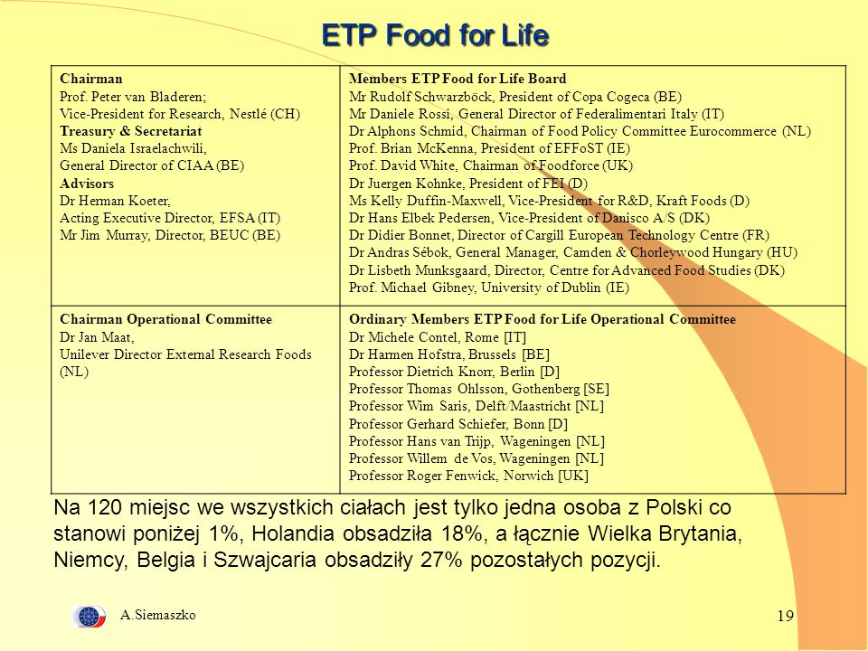 ETP Food for Life Chairman. Prof. Peter van Bladeren; Vice-President for Research, Nestlé (CH) Treasury & Secretariat.